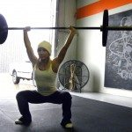 crossfit girl blondie overhead bar