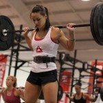 crossfit girl white top squat
