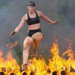 spartan race girl fire jump black shorts