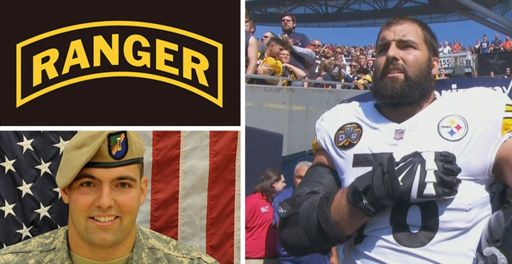 9993614da9e NFL Player Alejandro Villanueva (Army Ranger Veteran) Only Steeler to Stay  on Field for U.S. National Anthem While Rest of Players Stay in Locker Room