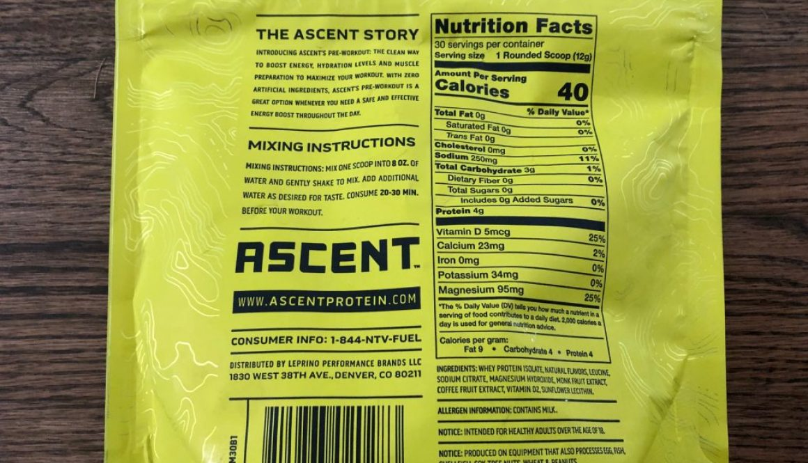 ascent pre workout list of ingredients